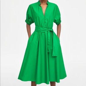 BRAND NEW ZARA GREEN DRESS WITH TAG